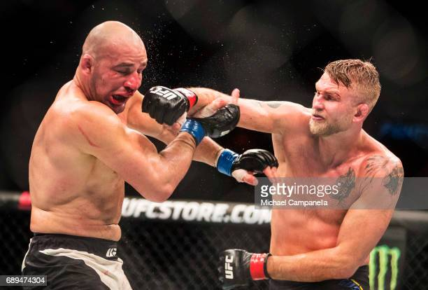 Alexander Gustafsson strikes Golver Teixeira during the UFC Fight Night event at Ericsson Globe on May 28 2017 in Stockholm Sweden