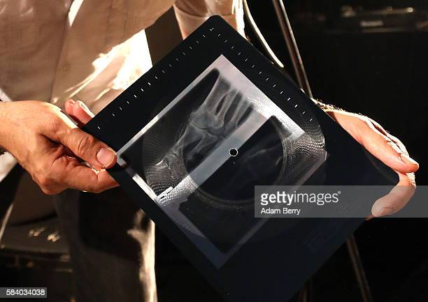 Alexander Hacke bassist and former guitarist for German industrial/experimental band Einstuerzende Neubauten shows an xray vinyl recording of his...