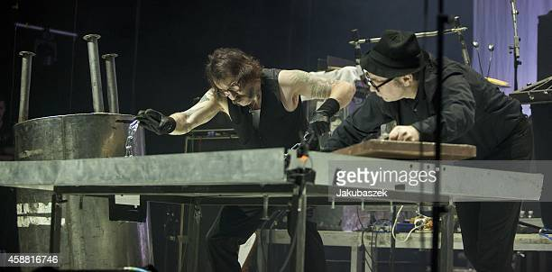 Alexander Hacke of the German band Einstuerzende Neubauten performs live during a concert at the Tempodrom on November 11 2014 in Berlin Germany