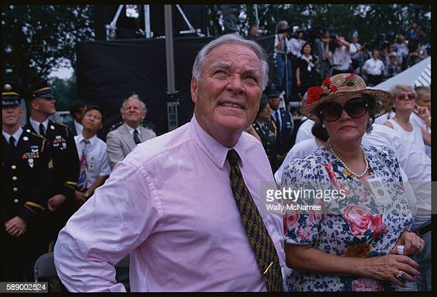 Alexander Haig and his wife Patricia attend the 1995 dedication ceremony of the Korean War Veterans Memorial