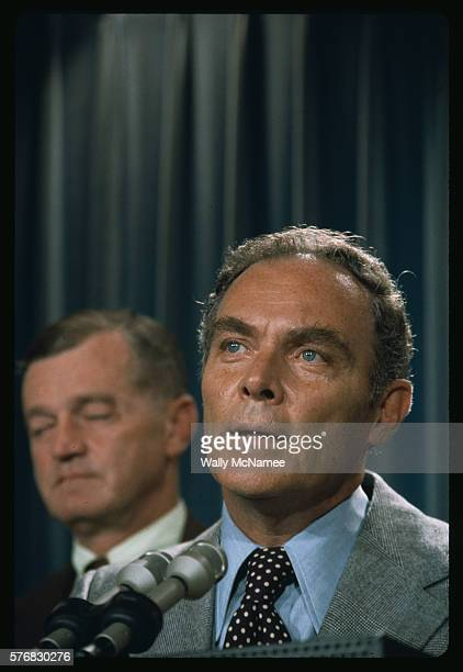 Alexander Haig talking to the press at the White House