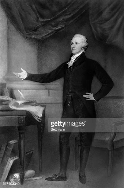 Alexander Hamilton posing next to a desk in an illustration after a painting by John Trumbull Undated