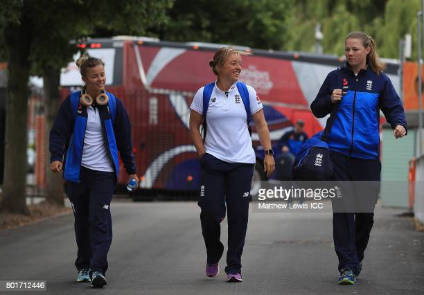 Alexander Hartley Danielle Hazell and Anya Shrubsole of ngland arrive ahead of the ICC Women's World Cup 2017 match between England and Pakistan at...