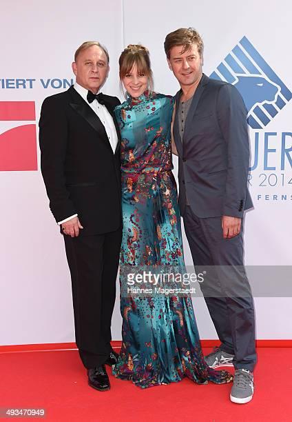 Alexander Held, Bernadette Heerwagen and Marcus Mittermeier attend the 'Bayerischer Fernsehpreis 2014' at Prinzregententheater on May 23, 2014 in...