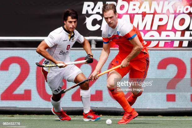 Mirco Pruijser of Holland Victor Wegnez of Belgium during the Champions Trophy match between Holland v Belgium at the Hockeyclub Breda on June 24...