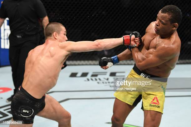Alexander Hernandez punches Francisco Trinaldo of Brazil in their lightweight bout during the UFC Fight Night event at ATT Center on July 20 2019 in...