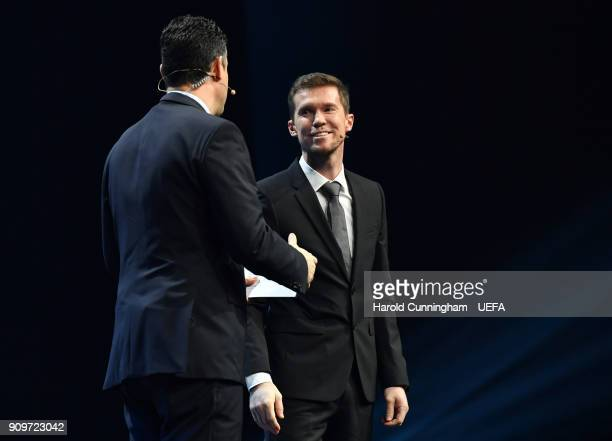 Alexander Hleb ahead of the UEFA Nations League Draw League D on January 24 2018 in Lausanne Switzerland