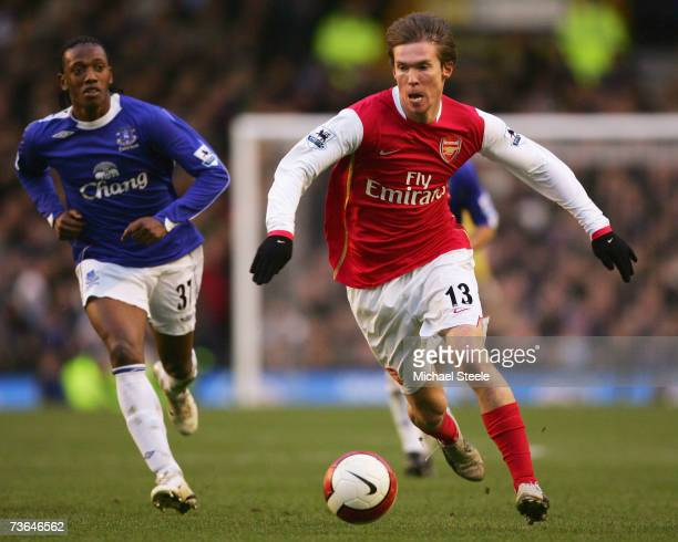 Alexander Hleb of Arsenal during the Barclays Premiership match between Everton and Arsenal at Goodison Park on March 18 2007 in Liverpool England