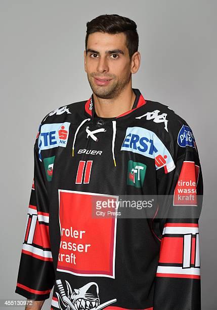 Alexander Hoeller of HC TWK Innsbruck during the action shot on august 14, 2014 in Innsbruck, Germany.