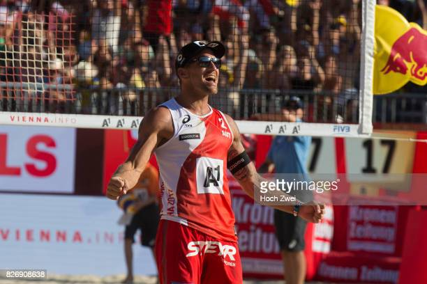 Alexander Horst of Austria celebrates during Day 9 of the FIVB Beach Volleyball World Championships 2017 on August 5 2017 in Vienna Austria