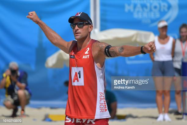 Alexander Horst of Austria rejoices during the pool match between Clemens Doppler and Alexander Horst of Austria and Cherif Younousse and Ahmed Tijan...