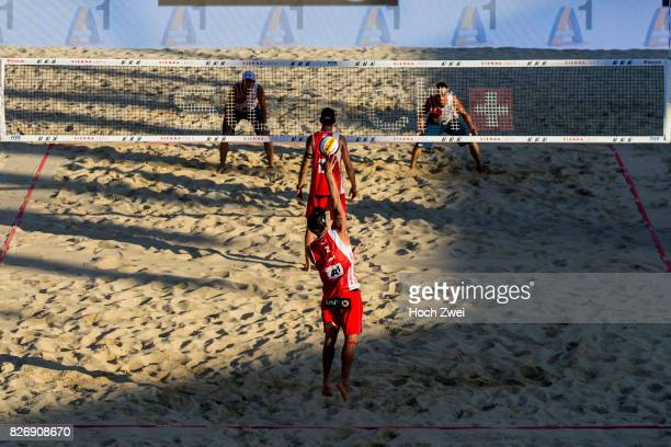 Alexander Horst of Austria serves the ball during Day 9 of the FIVB Beach Volleyball World Championships 2017 on August 5 2017 in Vienna Austria
