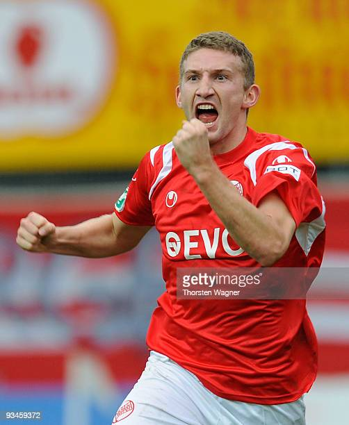Alexander Huber of Offenbach celebrates after scoring his team's first goal during the 3 Liga match between Kickers Offenbach and SV Sandhausen at...