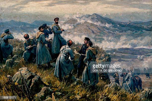 Alexander I of Bulgaria with his chiefs of staff observing the Battle of Dragoman November 23 1885 SerbianBulgarian War Bulgaria 19th century