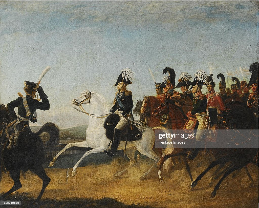 Alexander I of Russia accompanied by his staff. Artist: Anonymous : News Photo