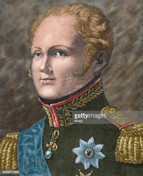 Alexander I of Russia Emperor of Russia the first King of Poland and the first Russian Grand Duke of Finland Portrait engraving 19th century Colored