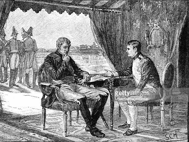 Alexander I Russia and Napoleon I of France meeting on a raft in the middle of the river Nieman 25 June 1807 Napoleonic Wars Treaty of Tilsit Wood...