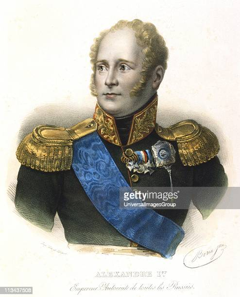 Alexander I Tsar of Russia from 1801 Coloured lithograph c1830