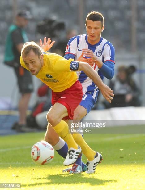 Alexander Iashvili of Karlsruhe battles for the ball with Nikita Rukavytsya of Berlin during the Second Bundesliga match between Hertha BSC Berlin...