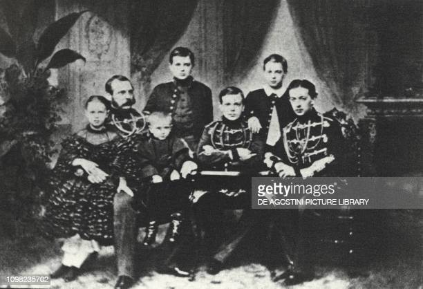 Alexander II Romanov Tsar of Russia with his children Nicholas Alexander Vladimir Alexei Sergei and Maria 19th century