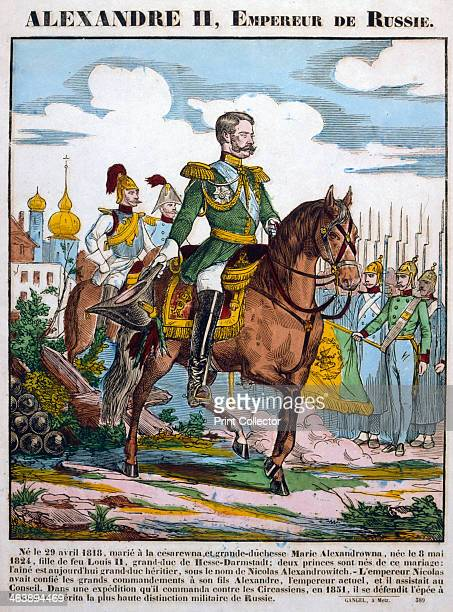 Alexander II Tsar of Russia reviewing troops c1855 Alexander became Tsar in 1855 at the height of the Crimean War Known as 'The Liberator' for his...