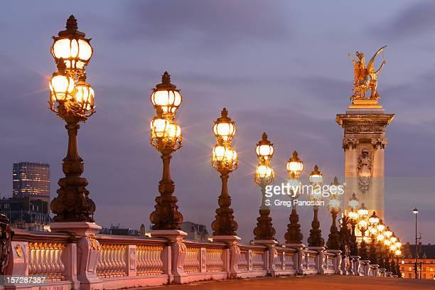 alexander iii bridge - paris night stock pictures, royalty-free photos & images