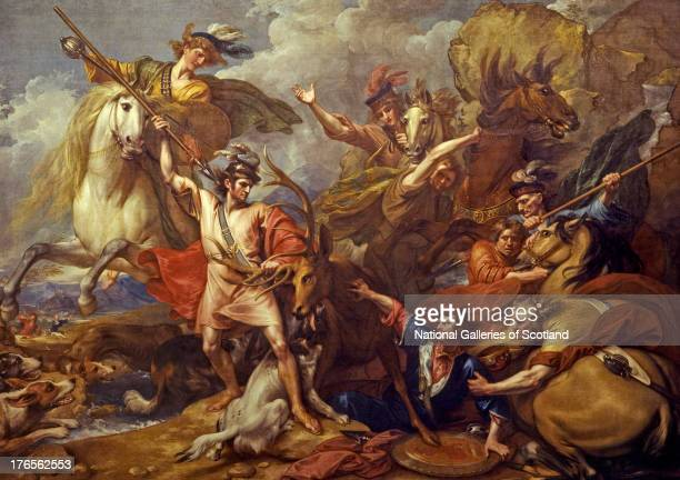 Alexander III of Scotland Rescued from the Fury of a Stag by the Intrepidity of Colin Fitzgerald by Benjamin West 1786 Oil on canvas Purchased with...