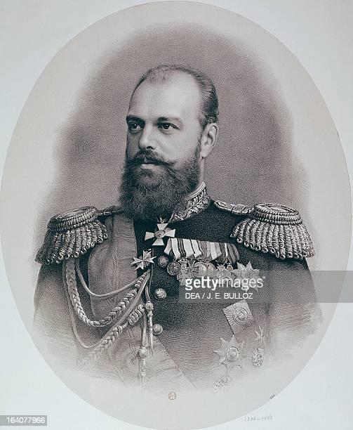 Alexander III Romanov Tsar and Emperor of Russia from 1881 to 1894 Son of Tsar Alexander II and Maria Alexandrovna Engraving Paris Bibliothèque...