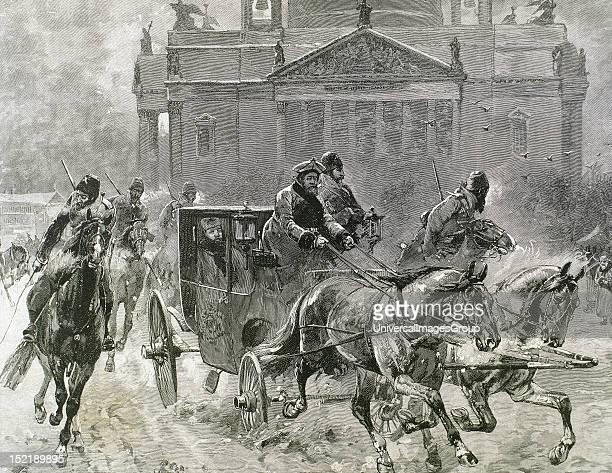 Alexander III , Tsar of Russia , son and successor of Alexander II, Easter Day in St, Petersburg, Tsar Alexander goes to church, 19th-century...