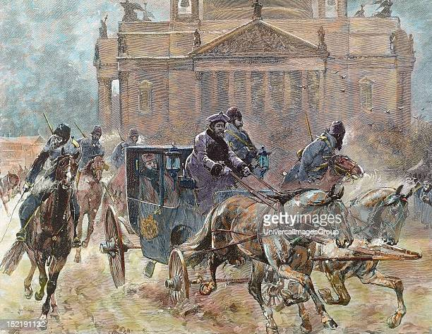 Alexander III , Tsar of Russia , son and successor of Alexander II, Easter Day in St, Petersburg, Tsar Alexander goes to church, 19th-century colored...