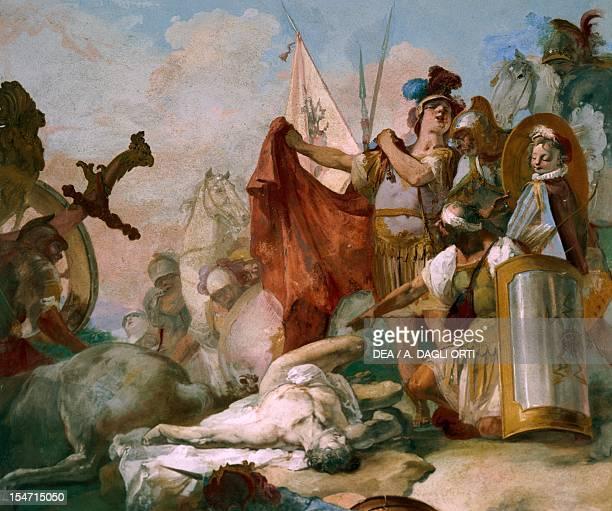 Alexander in front of Darius' body by Giovanni Battista Crosato fresco 280x235 cm Ballroom ceiling Ca' Marcello Levada di Piombino Dese Veneto Italy...