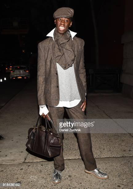J Alexander is seen wearing a modern suit outside the Marc Jacobs show during New York Fashion Week Women's A/W 2018 on February 14 2018 in New York...