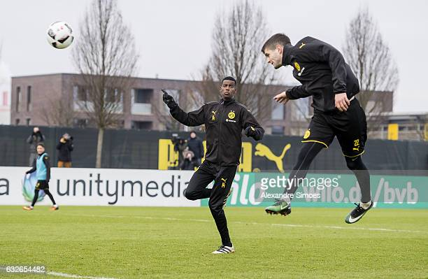 Alexander Isak and Christian Pulisic of Borussia Dortmund during a training session on January 25 2017 in Dortmund Germany