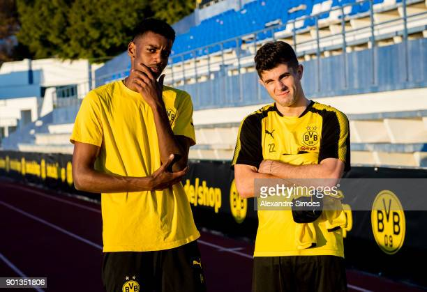 Alexander Isak and Christian Pulisic of Borussia Dortmund during the second day in the training camp in Marbella on January 4 2018 in Marbella Spain