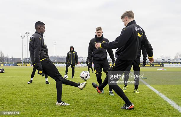 Alexander Isak and Matthias Ginter of Borussia Dortmund during a training session on January 25 2017 in Dortmund Germany