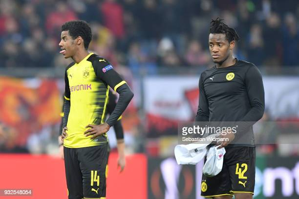 Alexander Isak and Michy Batshuayi of Dortmund look on after the UEFA Europa League Round of 16 2nd leg match between FC Red Bull Salzburg and...