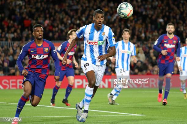 Alexander Isak and Nelson Semedo during the match between FC Barcelona and Real Sociedad corresponding to the week 27 of the Liga Santander played at...