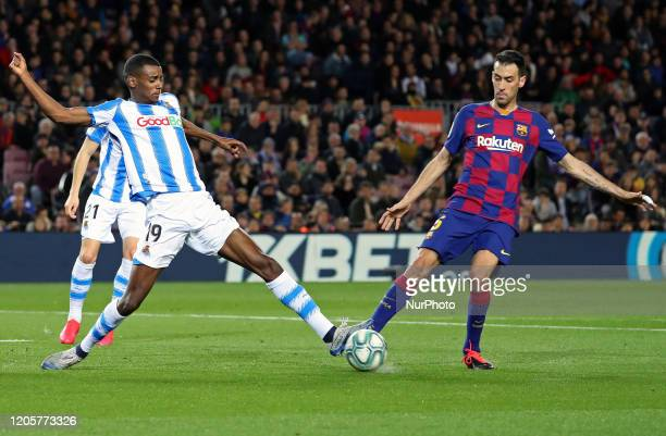 Alexander Isak and Sergio Busquets during the match between FC Barcelona and Real Sociedad corresponding to the week 27 of the Liga Santander played...