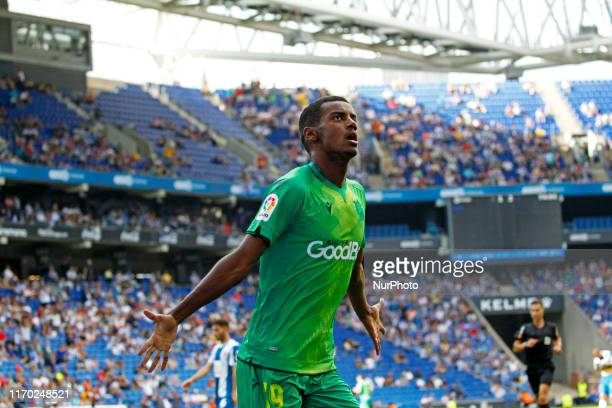 Alexander Isak goal celebration during the match between RCD Espanyol and Real Sociedad corresponding to the week 5 of the spanish Liga Santander...