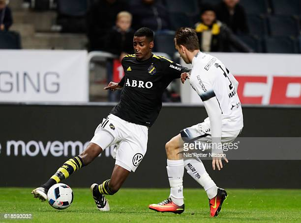Alexander Isak of AIK and Jasmin Sudic of BK Hacken competes for the ball during the Allsvenskan match between AIK and BK Hacken at Friends arena on...