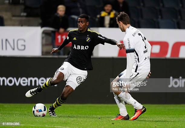 Alexander Isak of AIK and Jasmin Sudic of BK Hacken competes for the ballduring the Allsvenskan match between AIK and BK Hacken at Friends arena on...