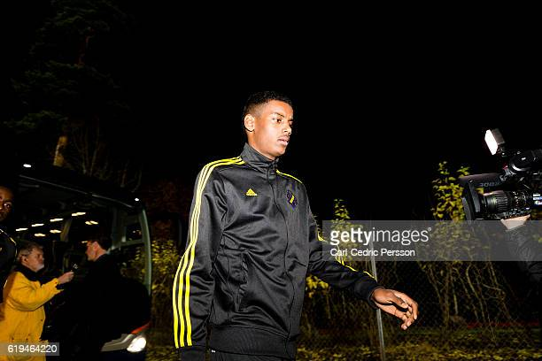 Alexander Isak of AIK arrives to Stadsparksvallen before the Allsvenskan match between Jonkoping Sodra IF and AIK at Stadsparksvallen on October 31...
