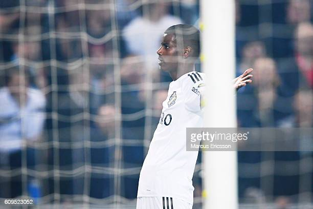 Alexander Isak of AIK celebrate after scoring 01 during the Allsvenskan match between Djurgardens IF and AIK at Tele2 Arena on September 21 2016 in...
