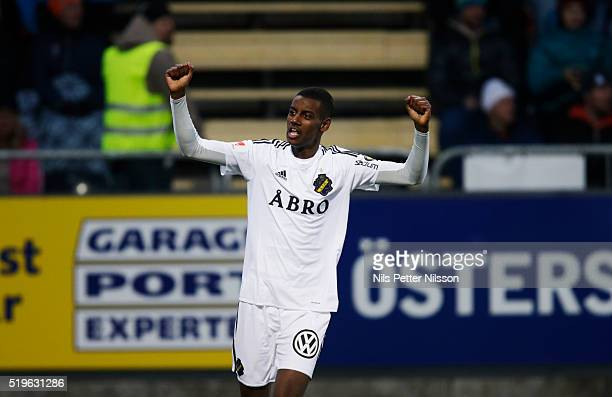 Alexander Isak of AIK celebrates after scoring 02 during the allsvenskan match between Ostersunds FK and AIK at Jamtkraft Arena on April 7 2016 in...