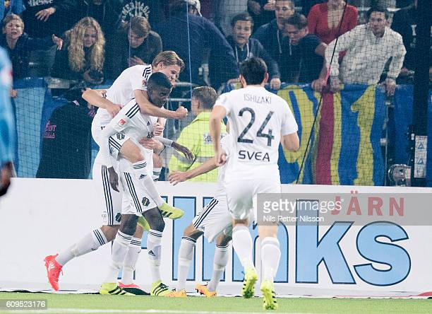 Alexander Isak of AIK celebrates after scoring to 01 during the Allsvenskan match between Djurgardens IF and AIK at Tele2 Arena on September 21 2016...