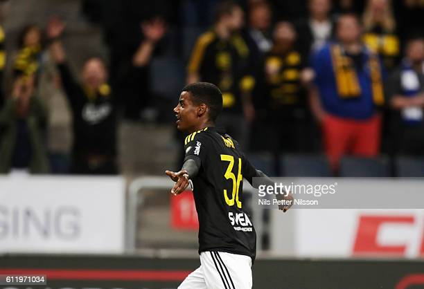 Alexander Isak of AIK celebrates after scoring to 20 during the Allsvenskan match between AIK and IFK Norrkoping at Friends arena on October 2 2016...