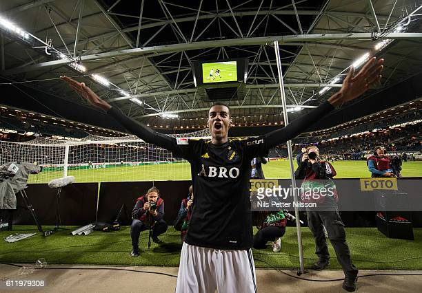 Alexander Isak of AIK celebrates after the victory during the Allsvenskan match between AIK and IFK Norrkoping at Friends arena on October 2 2016 in...