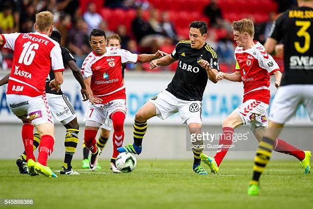 Alexander Isak of AIK competes for the ball during the allsvenskan match between Kalmar FF and AIK at Guldfageln Arena on July 10 2016 in Kalmar...