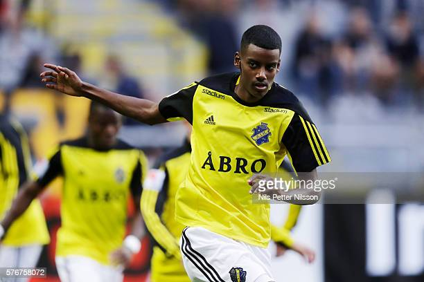 Alexander Isak of AIK during the allsvenskan match between AIK and Malmo FF at Friends arena on July 17 2016 in Solna Sweden