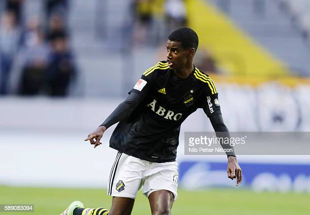 Alexander Isak of AIK during the allsvenskan match between AIK and Helsingborgs FF at Friends arena on August 13 2016 in Solna Sweden